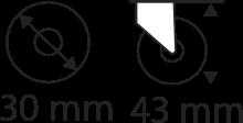 30mm x 43mm